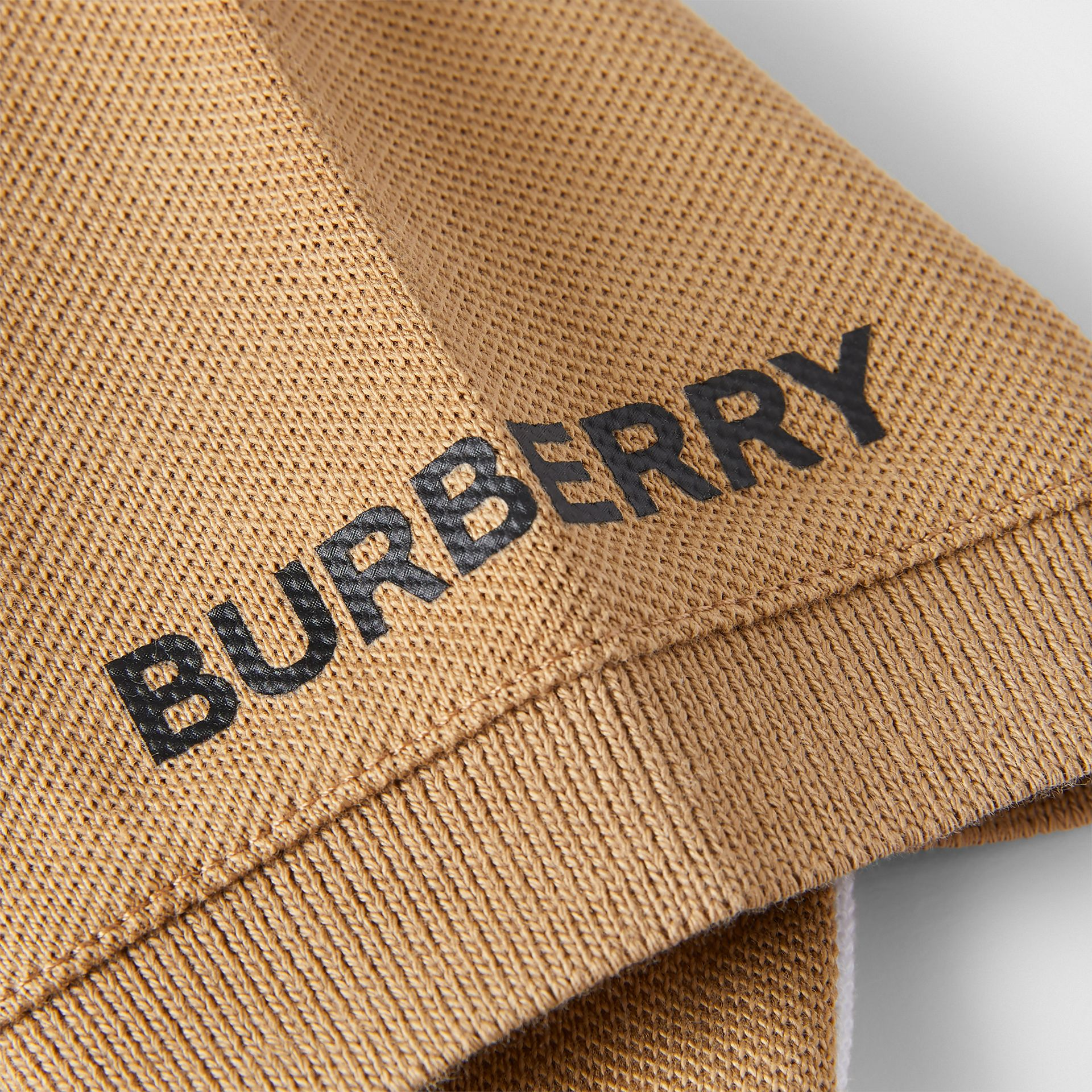 Colour Block Knit Cotton Polo Shirt in Archive Beige - Children | Burberry - gallery image 1