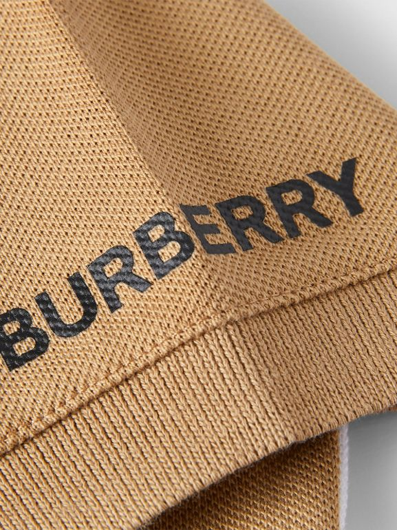 Colour Block Knit Cotton Polo Shirt in Archive Beige - Children | Burberry - cell image 1