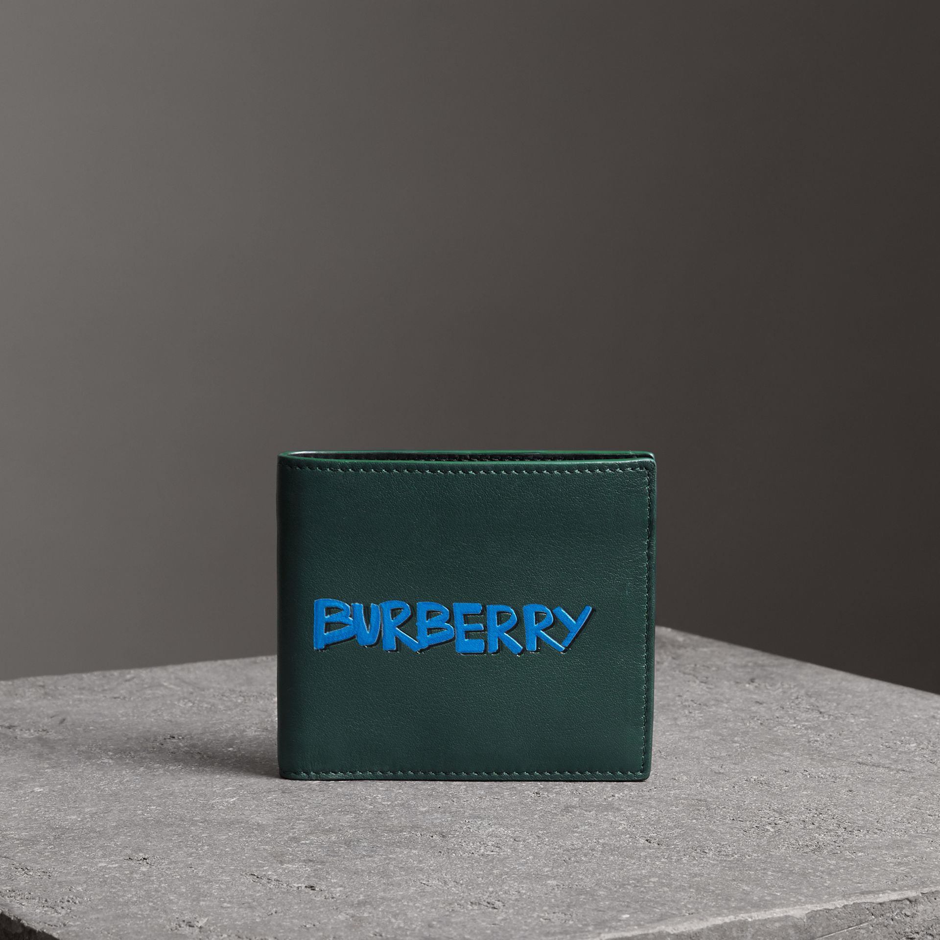 Graffiti Print Leather International Bifold Wallet in Deep Bottle Green - Men | Burberry Australia - gallery image 0
