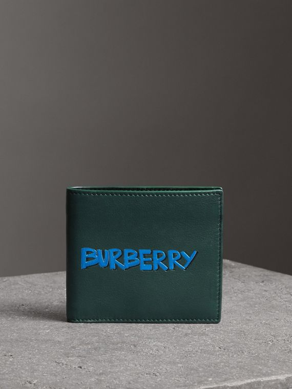 Graffiti Print Leather International Bifold Wallet in Deep Bottle Green