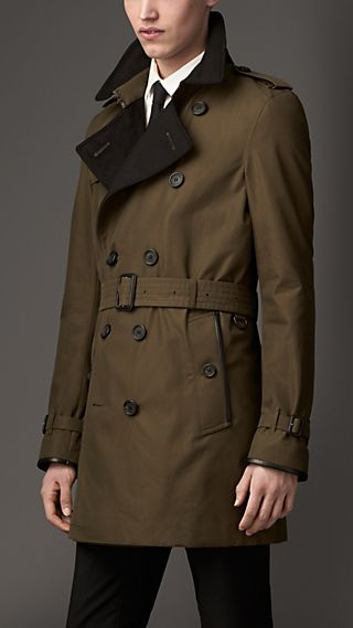 Wool Cashmere Detail Gabardine Trench Coat