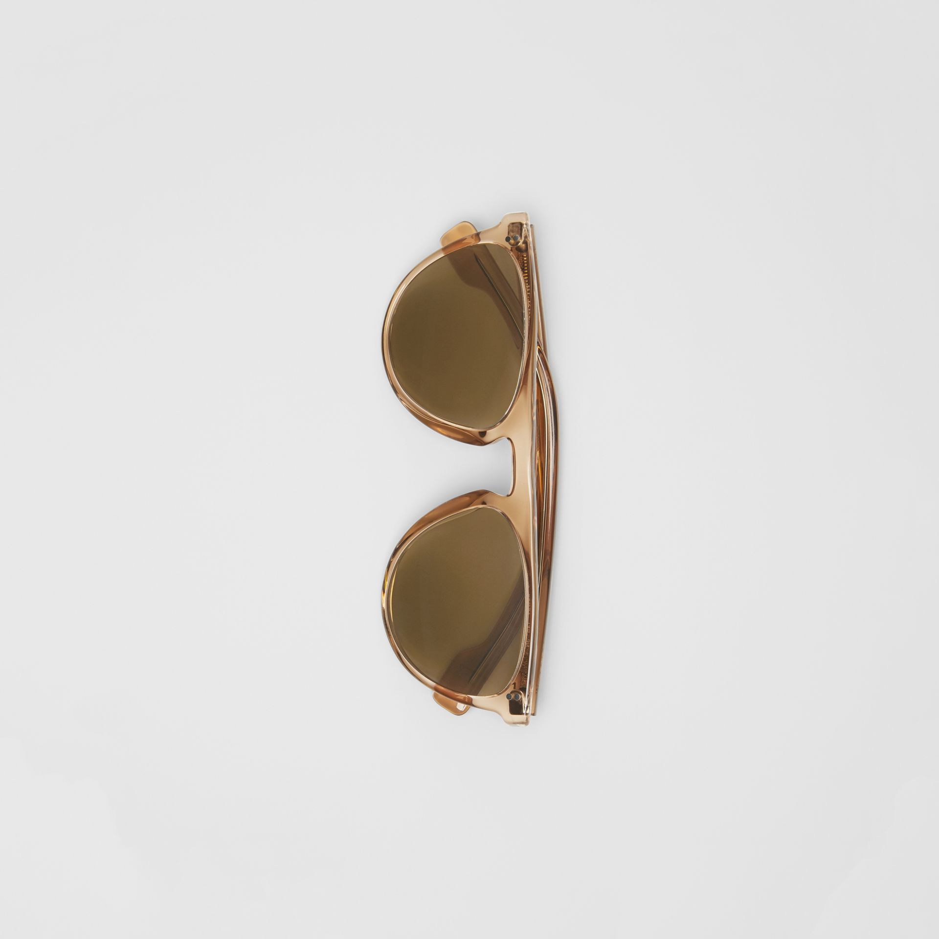 Keyhole D-shaped Sunglasses in Brown - Men | Burberry - gallery image 3