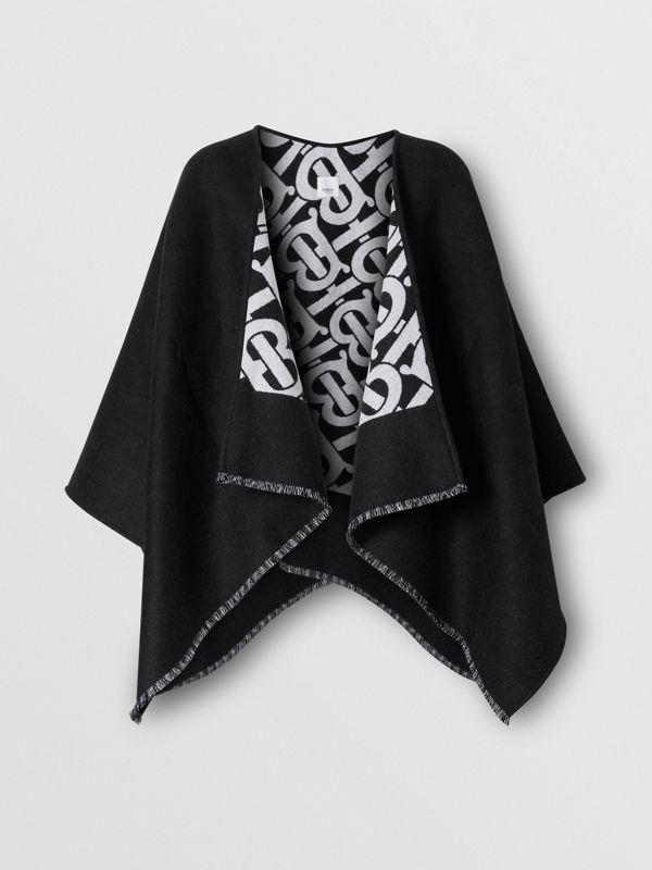 Monogram Wool Jacquard Cape in Black - Women | Burberry - cell image 3