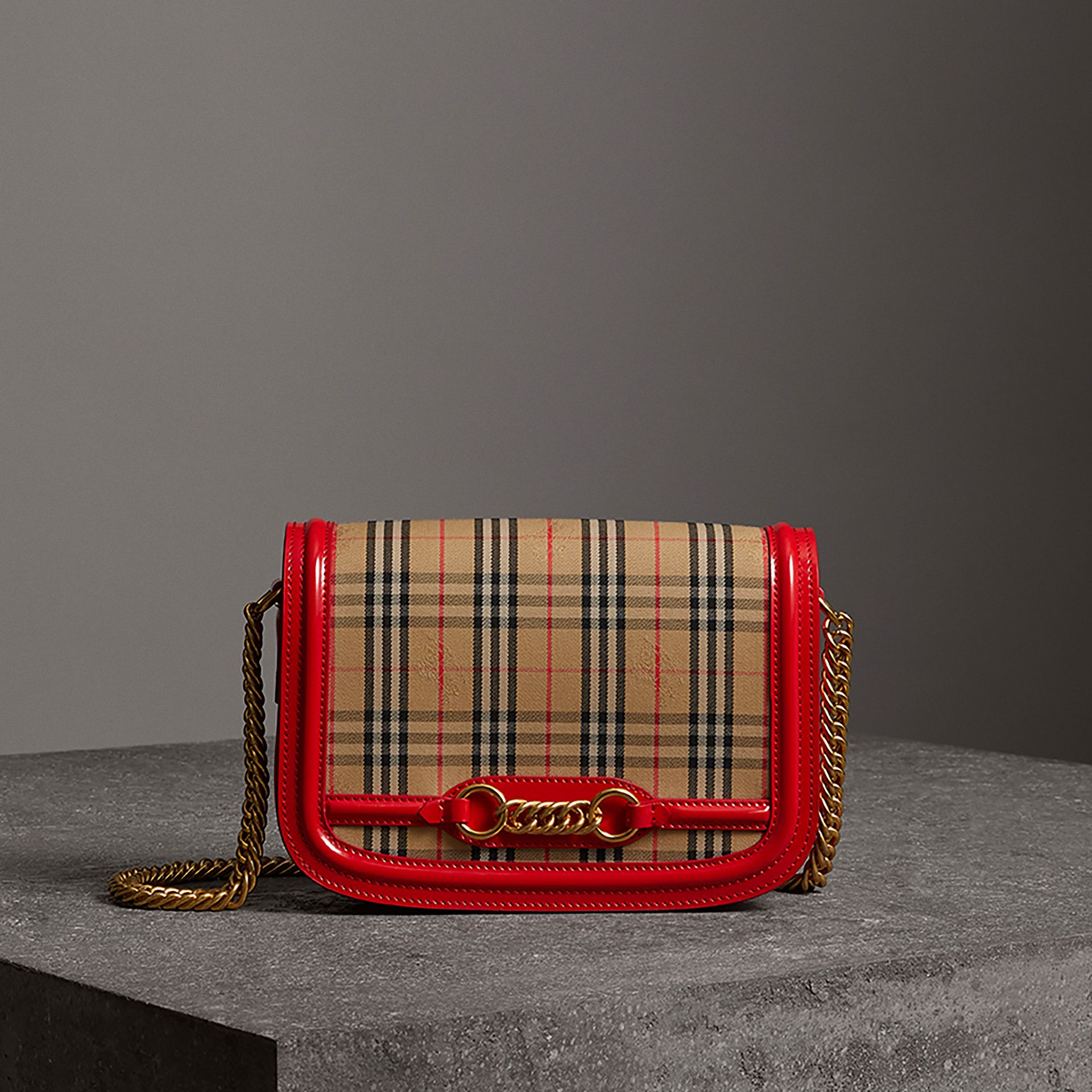 The 1983 Check Link Bag with Patent Trim in Bright Red - Women | Burberry United States - gallery image 0
