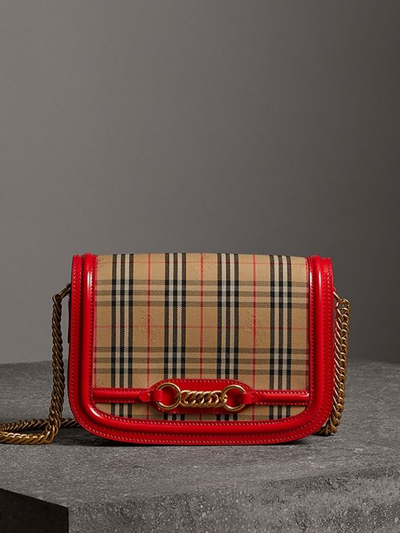 The 1983 Check Link Bag with Patent Trim in Bright Red
