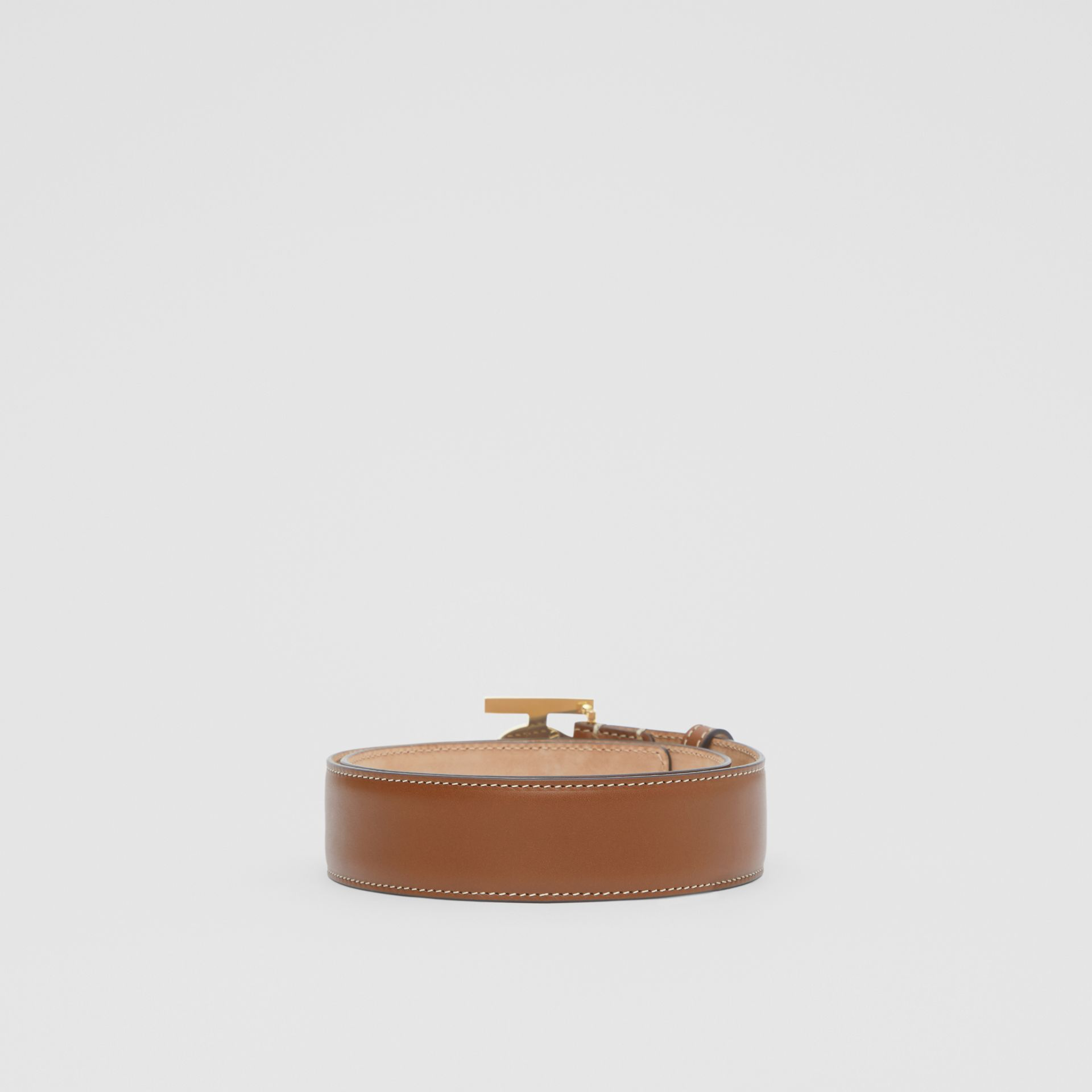 Monogram Motif Leather Belt in Tan - Women | Burberry Canada - gallery image 4