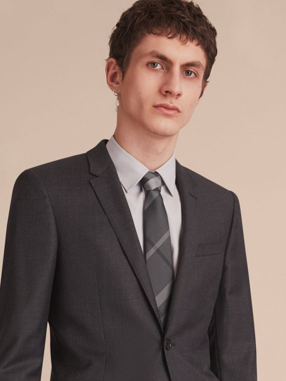 Cravate moderne en soie à motif Beat check (Anthracite Sombre) - Homme | Burberry - cell image 2
