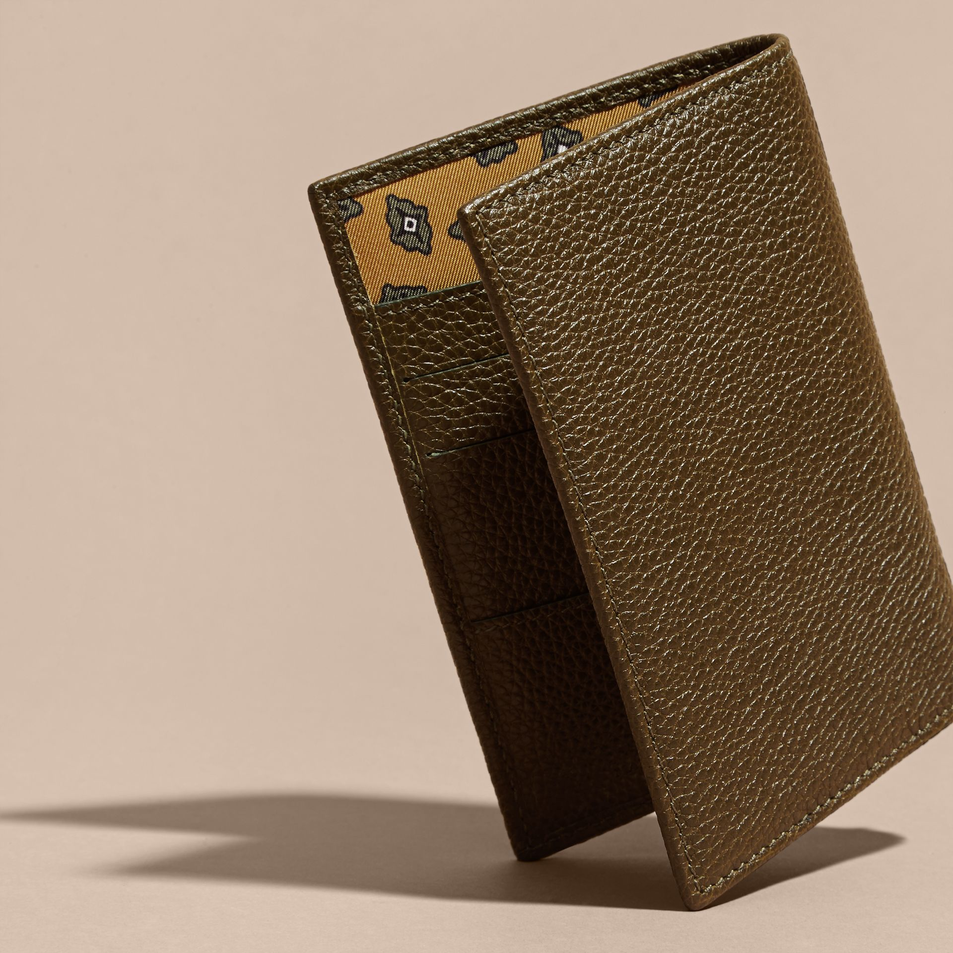 Olive Grainy Leather Passport and Card Holder Olive - gallery image 4