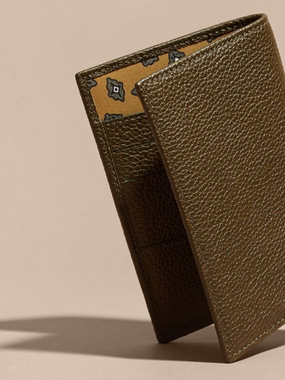 Olive Grainy Leather Passport and Card Holder Olive - cell image 3