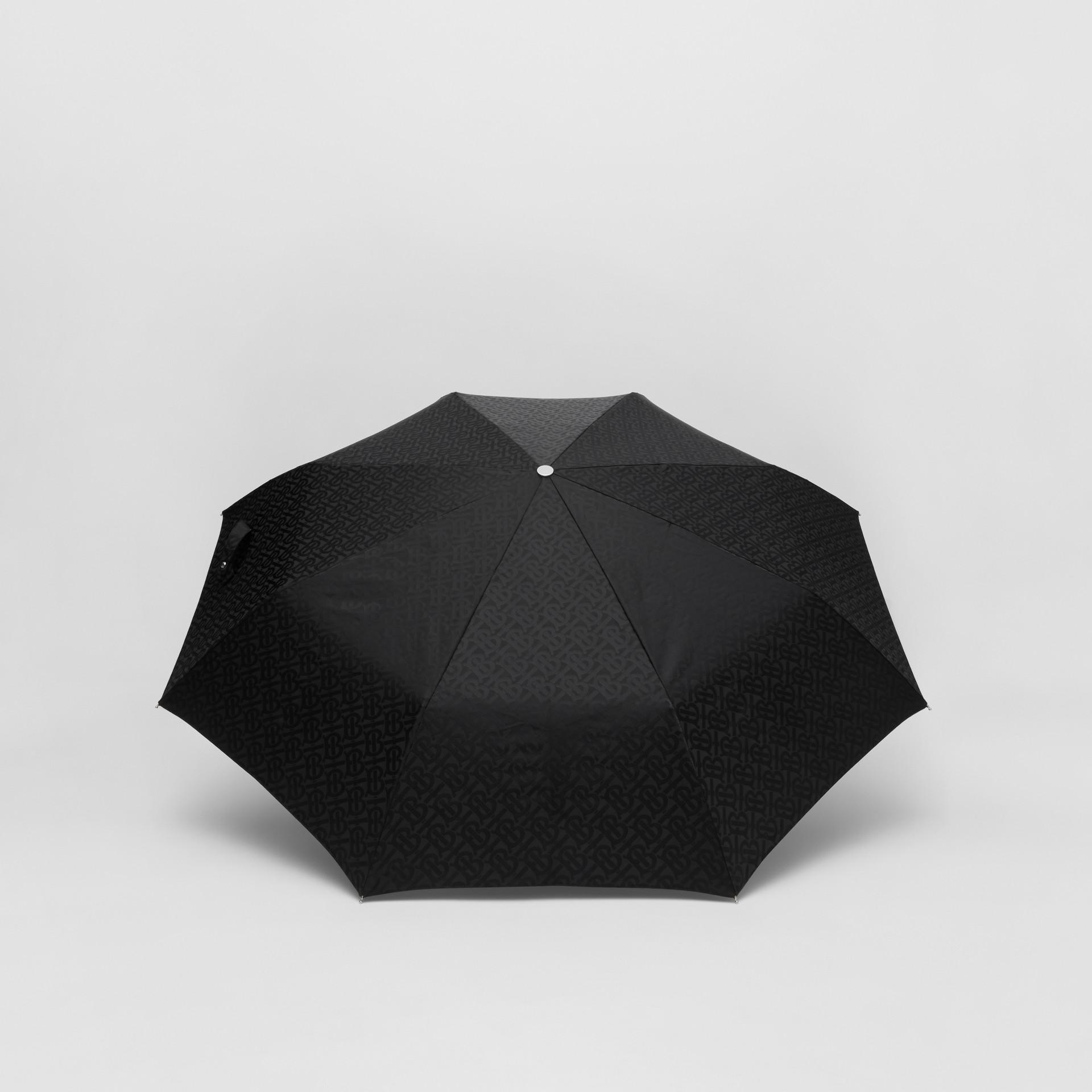 Monogram Print Folding Umbrella in Black | Burberry - gallery image 4