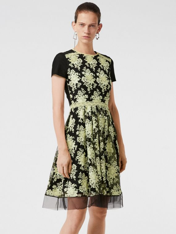 Short-sleeve Embroidered Tulle Dress in Pale Camomile