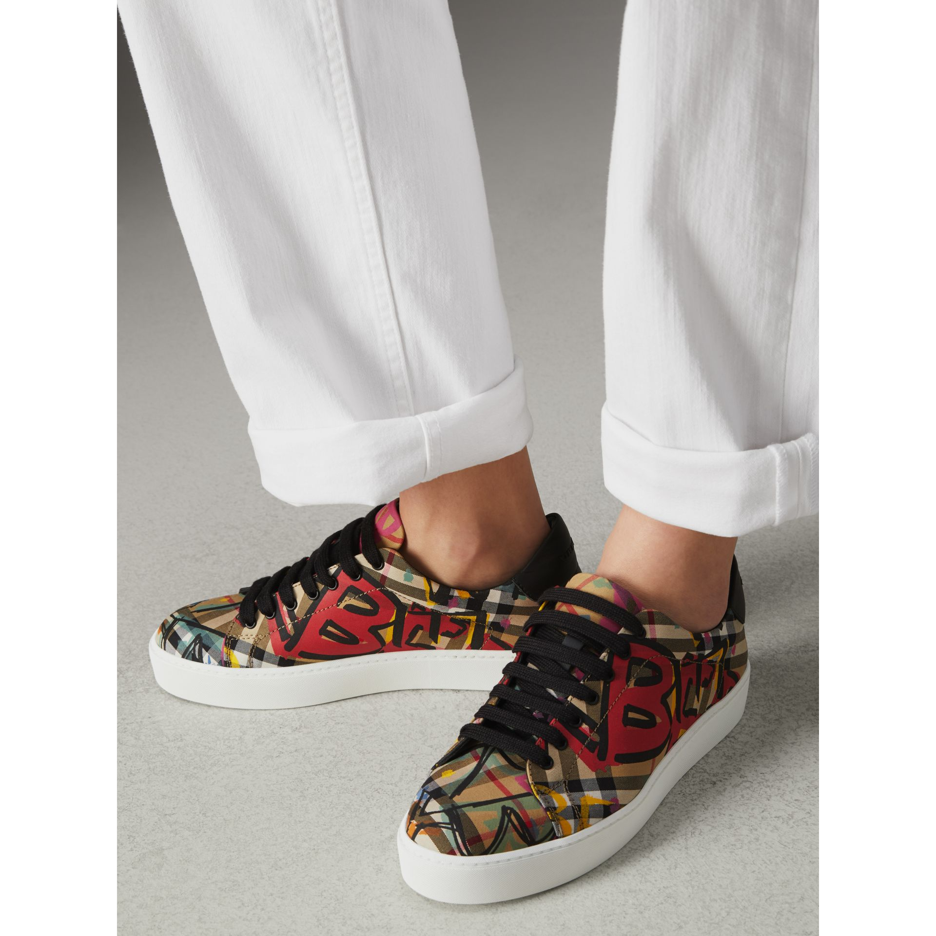 Graffiti Print Vintage Check Sneakers in Antique Yellow - Women | Burberry Canada - gallery image 2