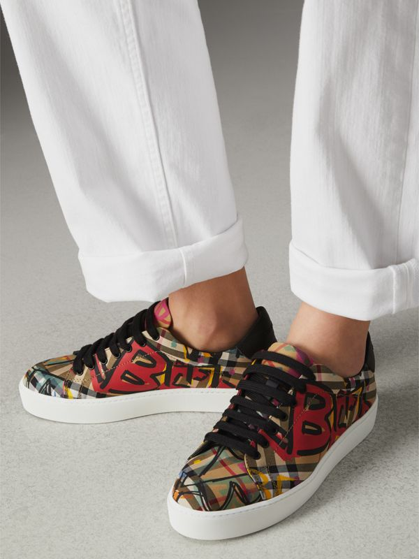 Graffiti Print Vintage Check Sneakers in Antique Yellow - Women | Burberry Canada - cell image 2