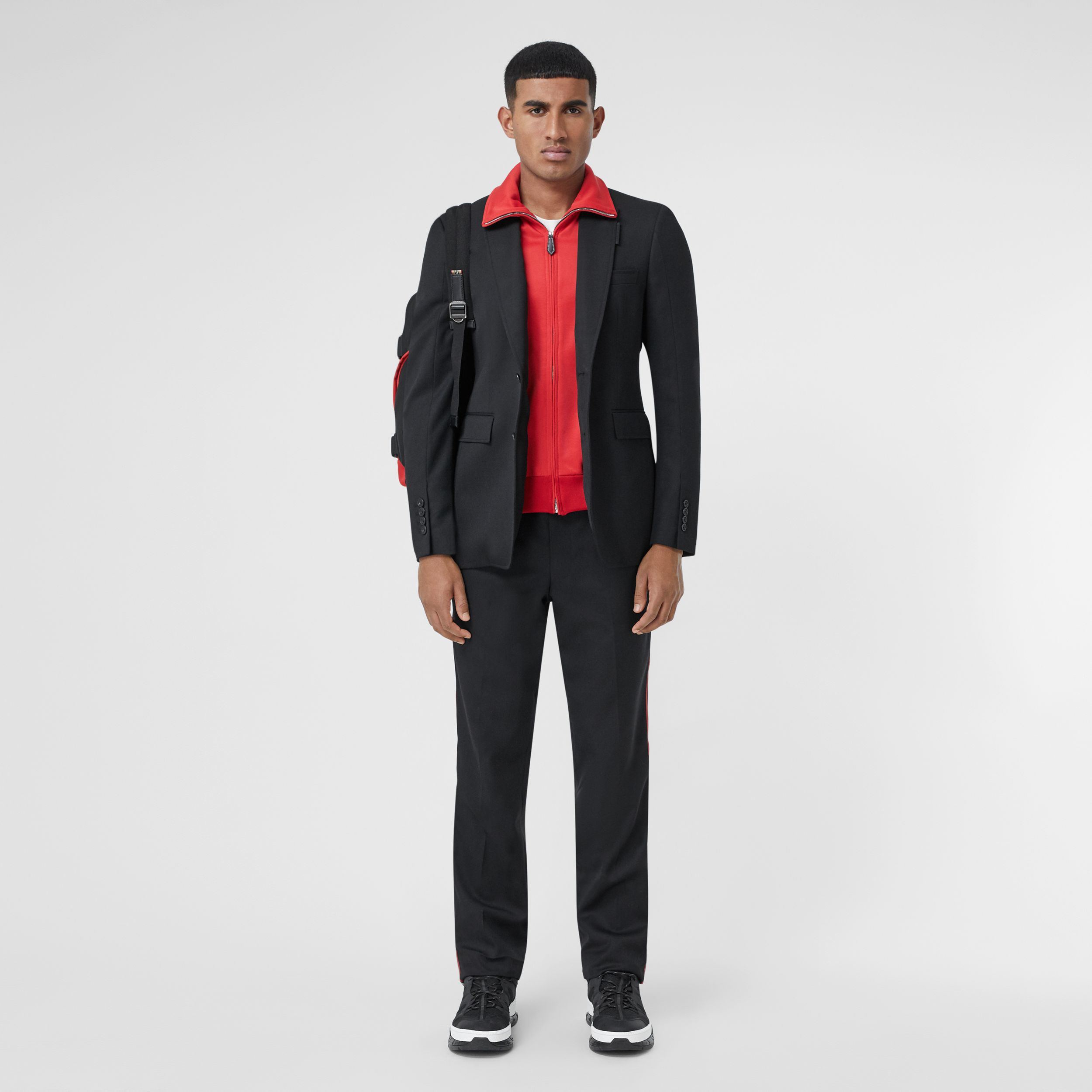 Classic Fit Track Top Detail Wool Tailored Jacket in Black - Men | Burberry - 1