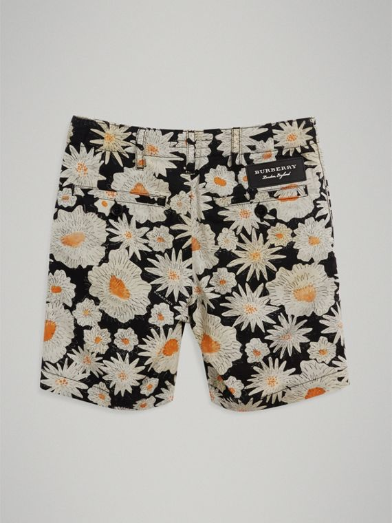 Daisy Print Cotton Chino Shorts in Black - Boy | Burberry - cell image 3