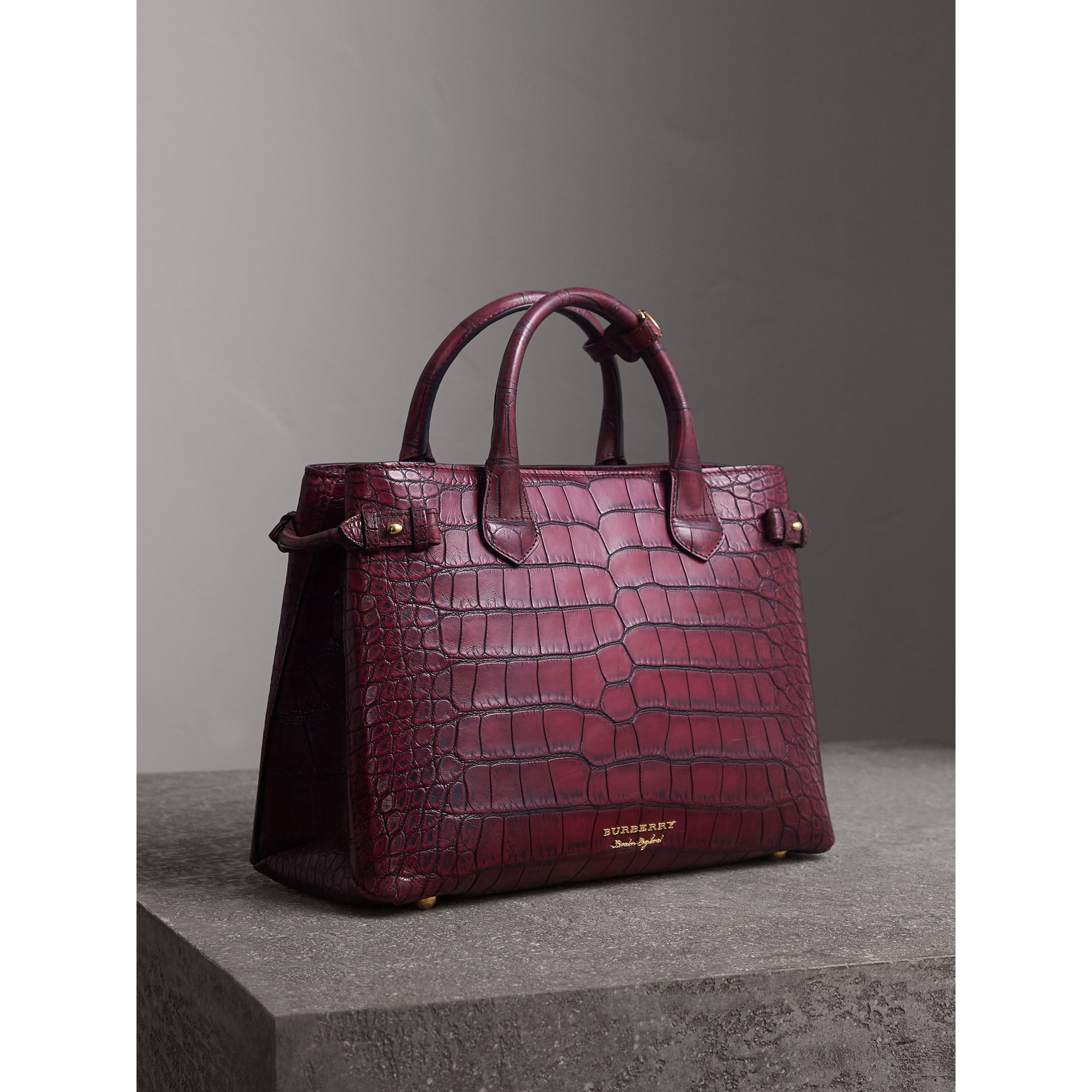 The Medium Banner in Alligator in Elderberry - Women | Burberry Canada - gallery image 0