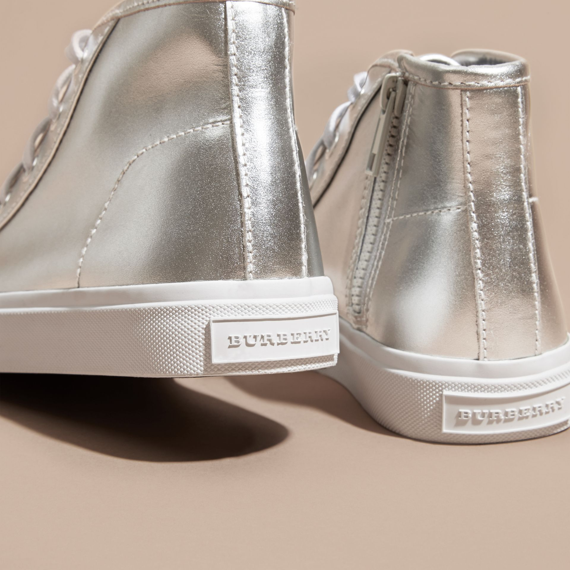 Silver Metallic Leather High-top Trainers - gallery image 2