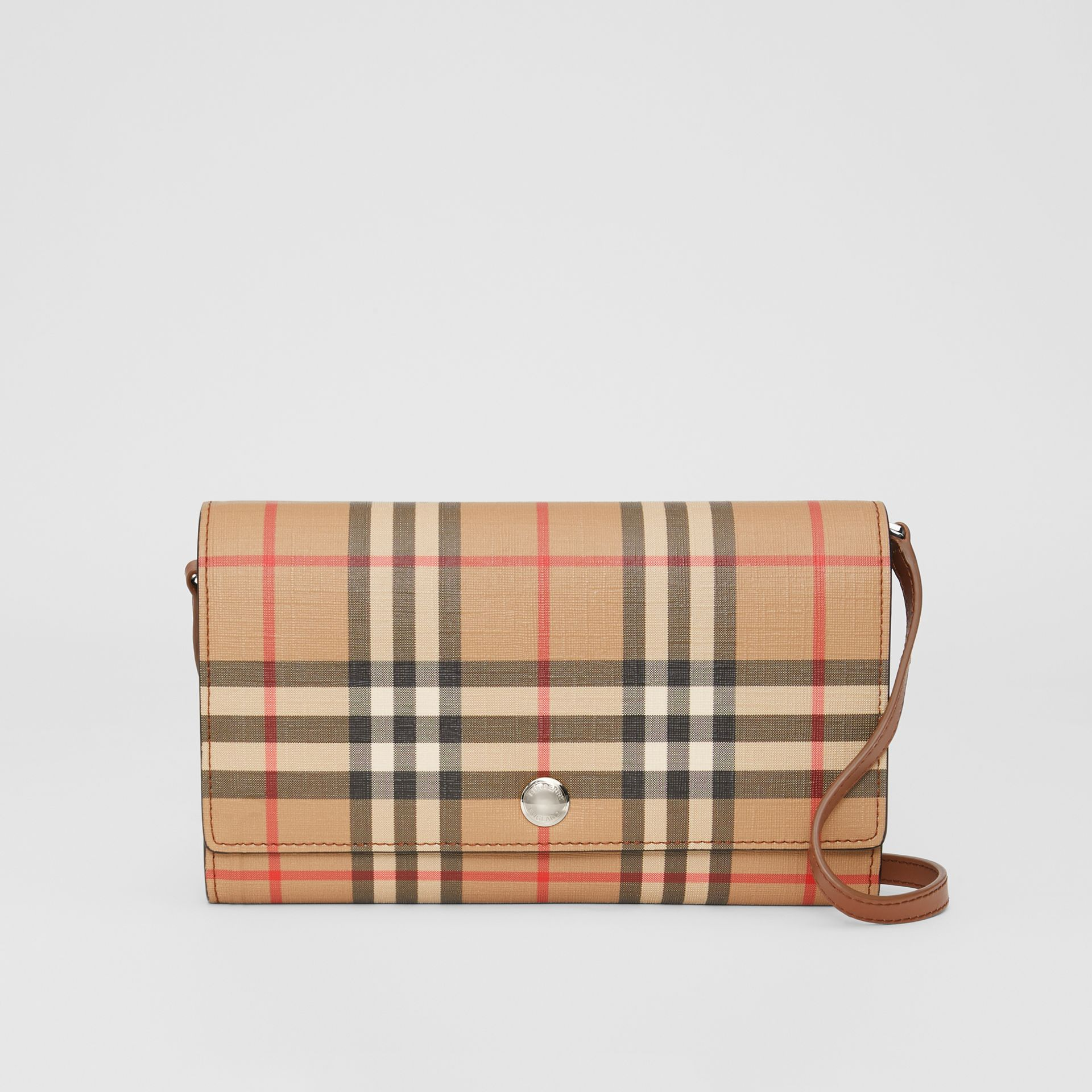 Vintage Check E-canvas Wallet with Detachable Strap in Malt Brown - Women | Burberry - gallery image 0