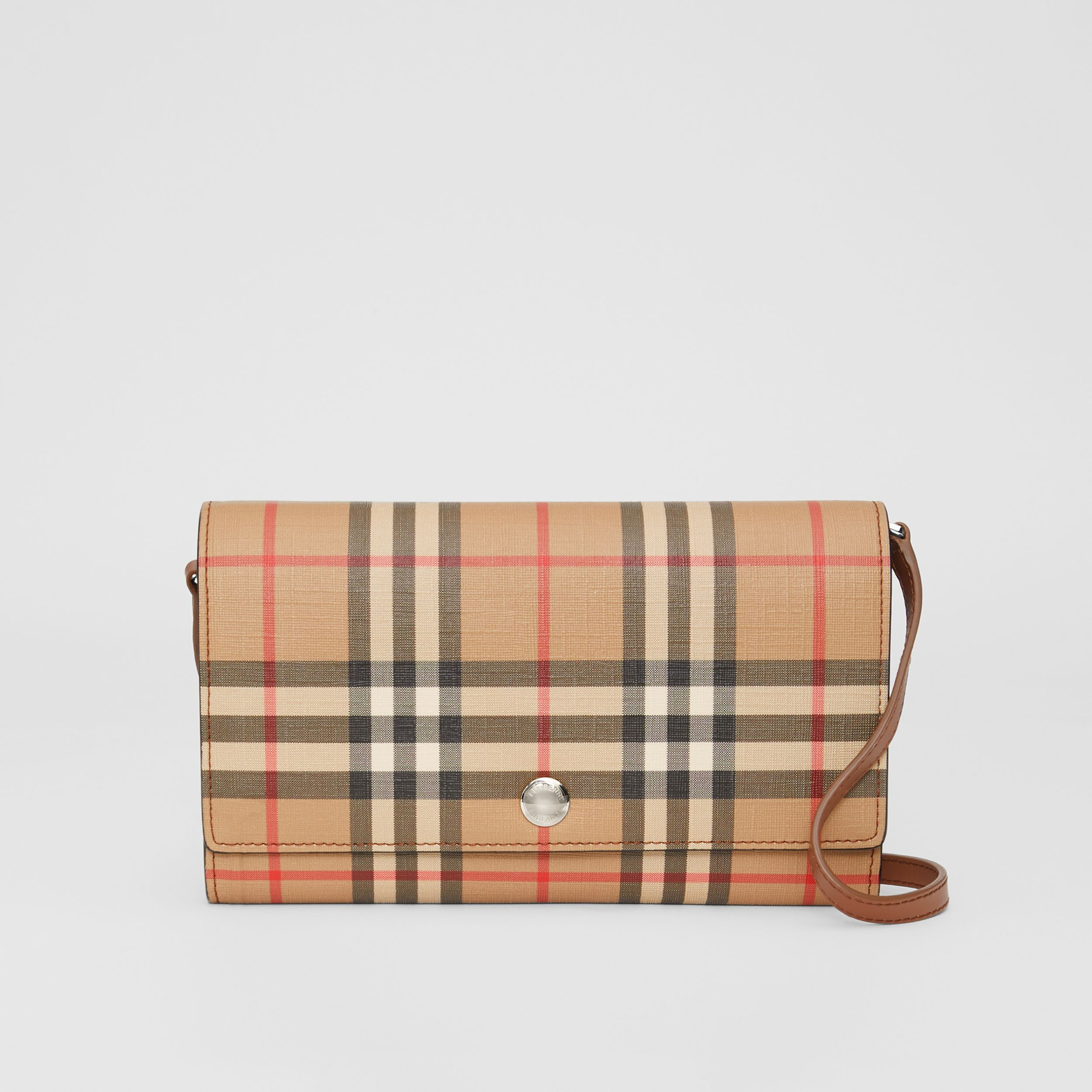 Vintage Check E-canvas Wallet with Detachable Strap in Malt Brown - Women | Burberry - 1