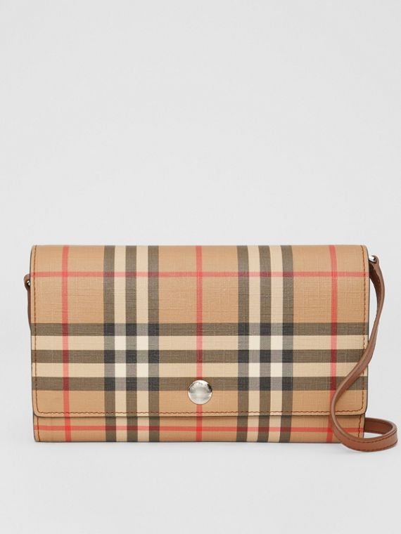 Vintage Check E-canvas Wallet with Detachable Strap in Malt Brown