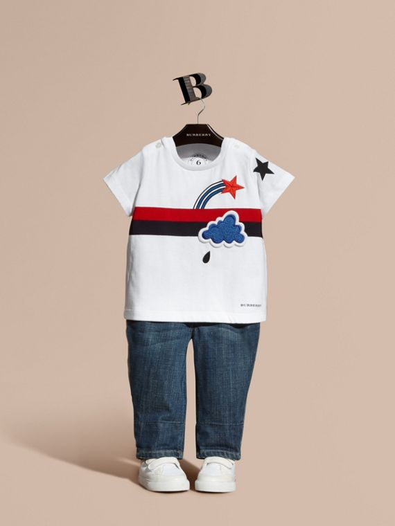 Appliquéd and Embroidered Weather Graphic Cotton T-Shirt