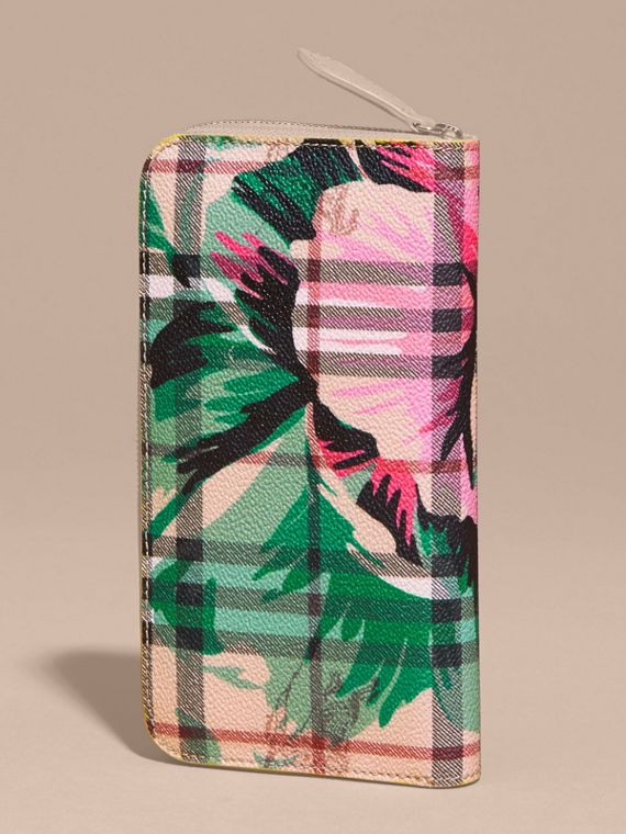 Larch yellow/emerald green Peony Rose Print Haymarket Check and Leather Ziparound Wallet - cell image 3