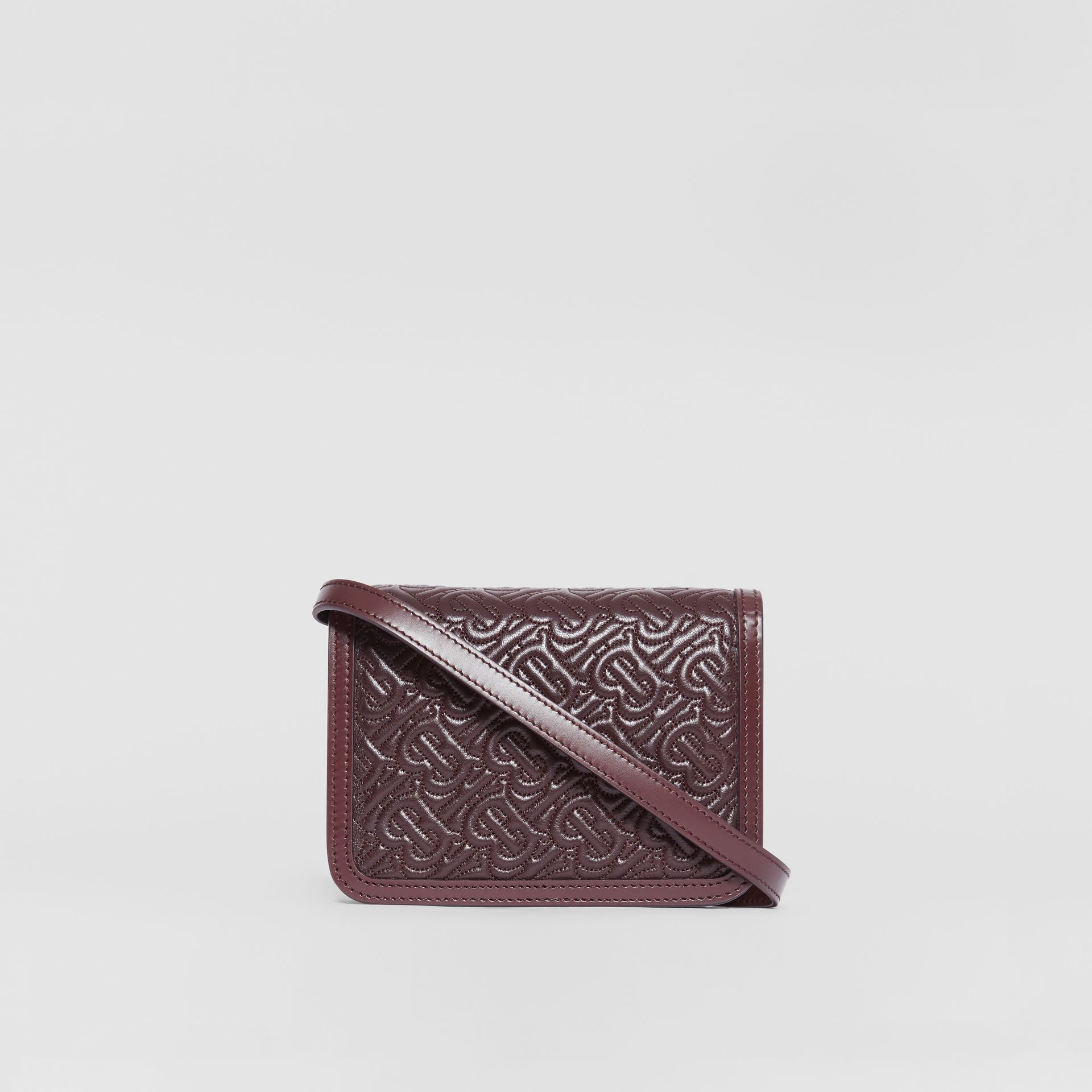 Mini Quilted Monogram Lambskin TB Bag in Dark Burgundy - Women | Burberry - gallery image 7
