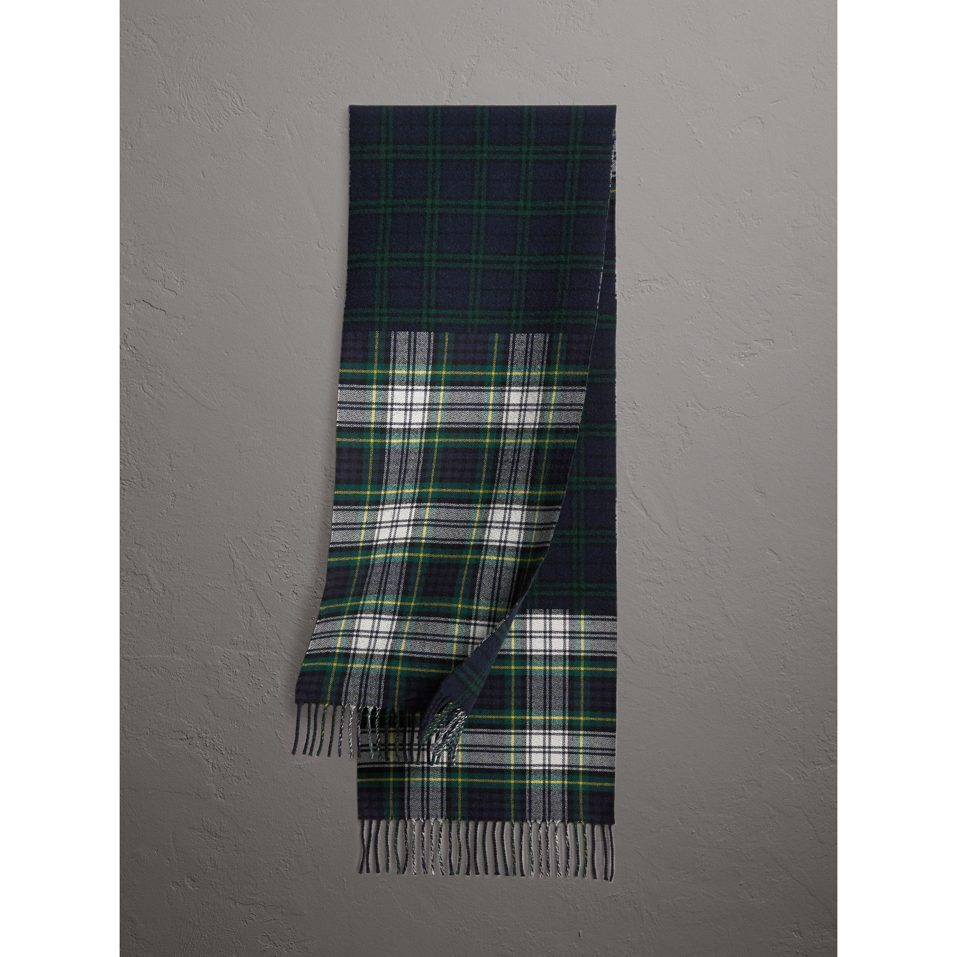 Check Merino Wool Scarf in Ink Blue | Burberry Australia - gallery image 0