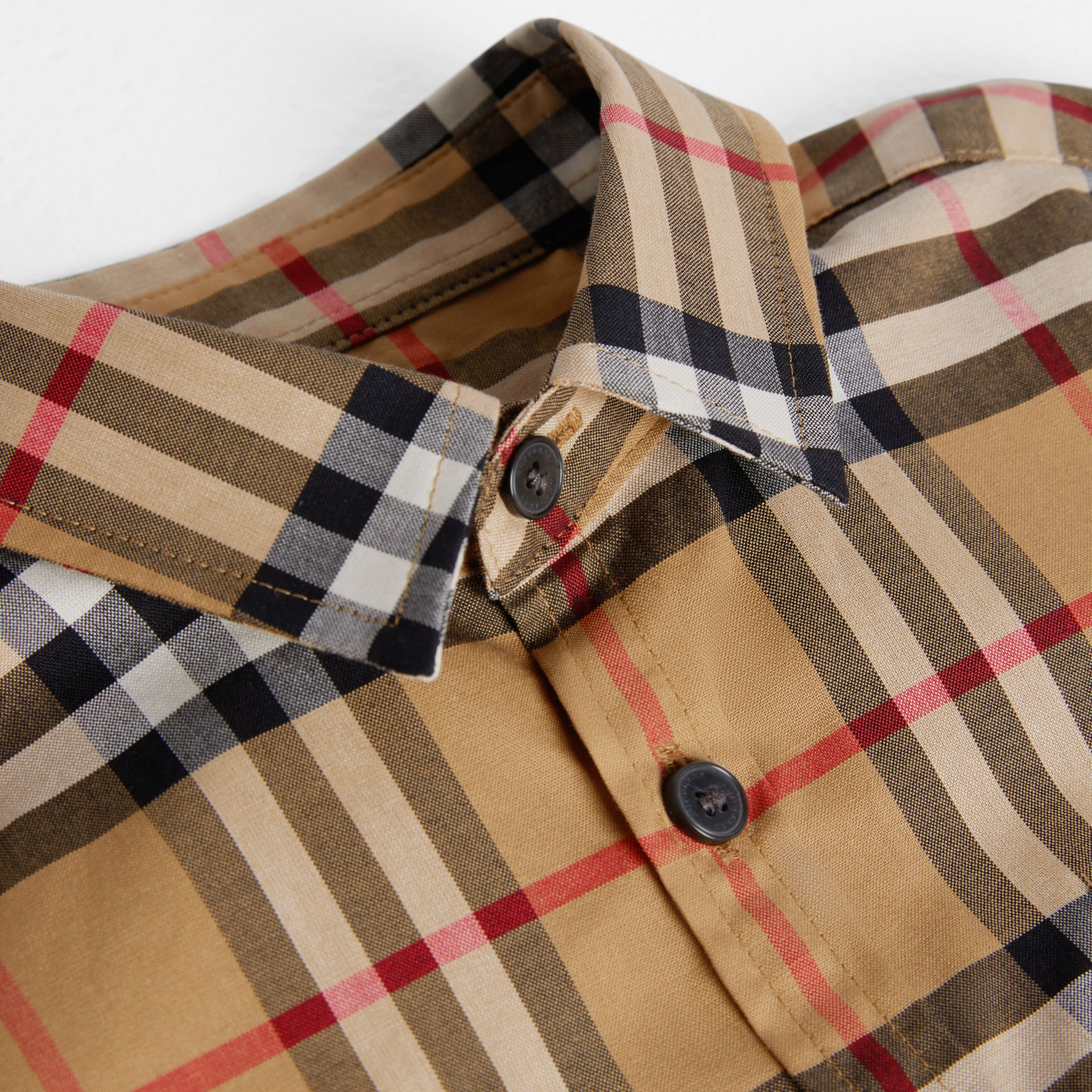 Short-sleeve Vintage Check Cotton Shirt in Antique Yellow | Burberry Singapore - gallery image 1