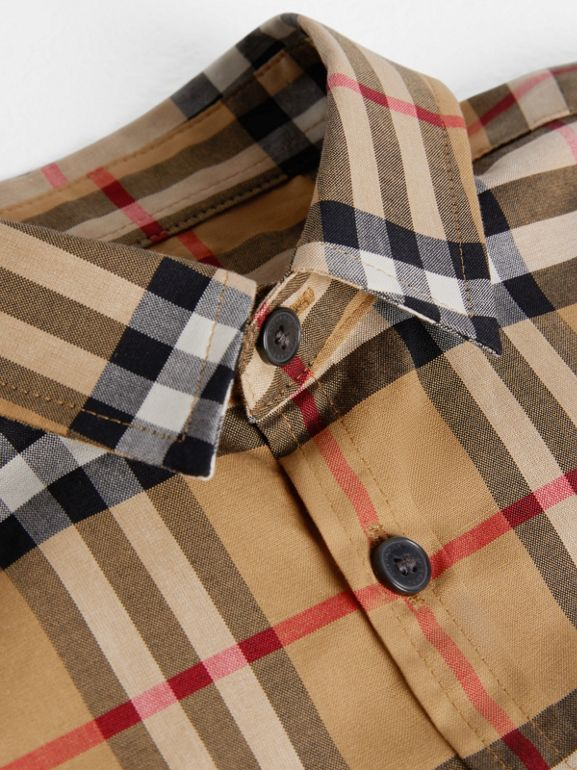 Short-sleeve Vintage Check Cotton Shirt in Antique Yellow | Burberry Singapore - cell image 1