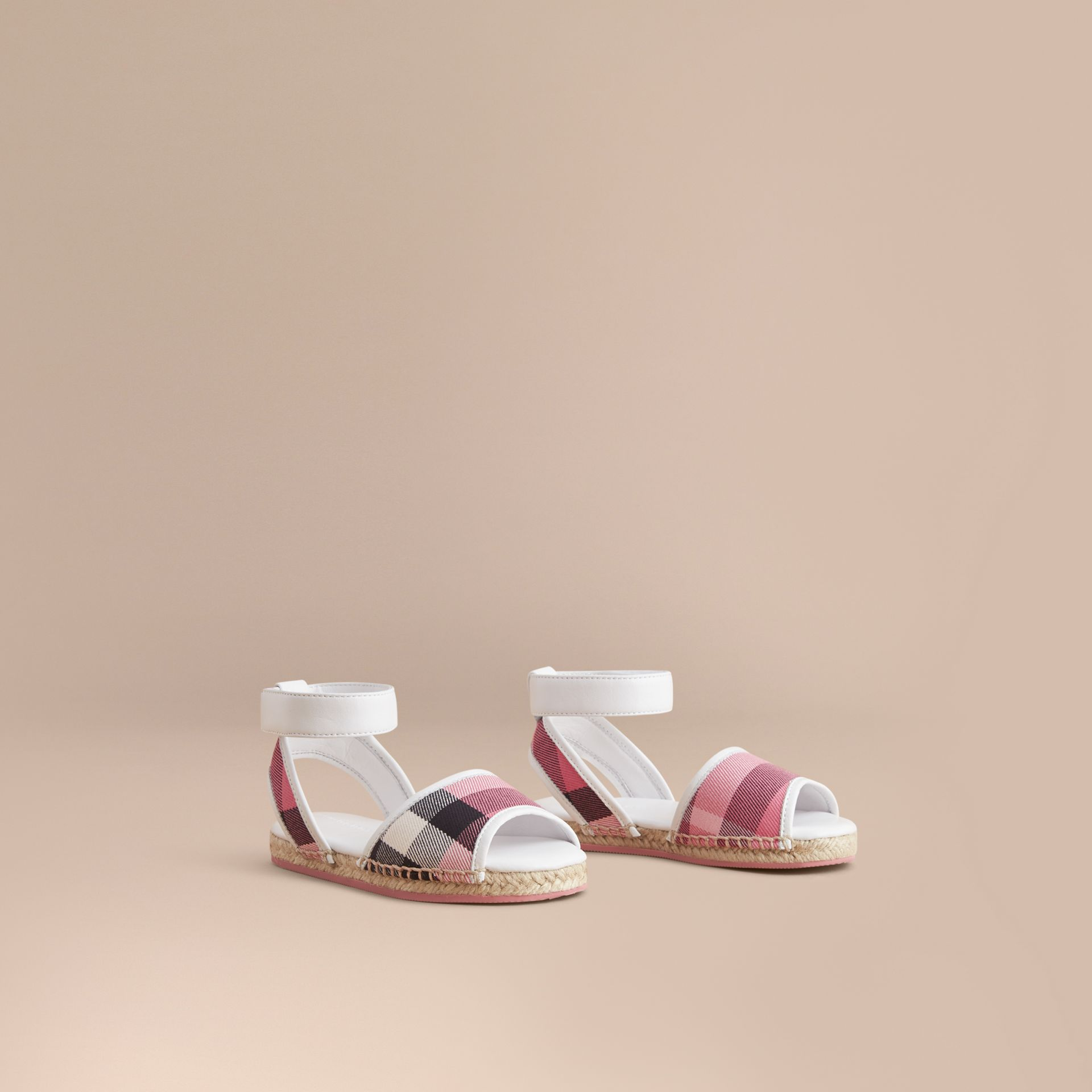 Leather Ankle Strap and House Check Espadrille Sandals in Rose Pink - Girl | Burberry Hong Kong - gallery image 1