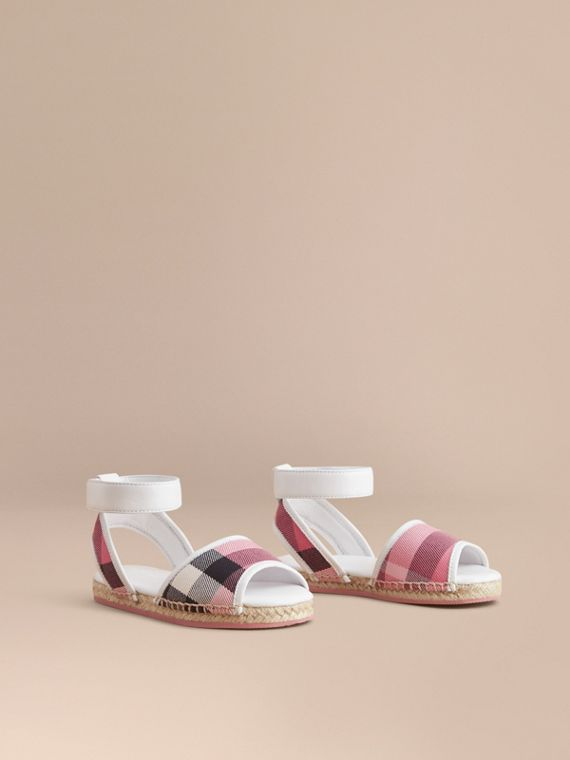 Leather Ankle Strap and House Check Espadrille Sandals in Rose Pink - Girl | Burberry