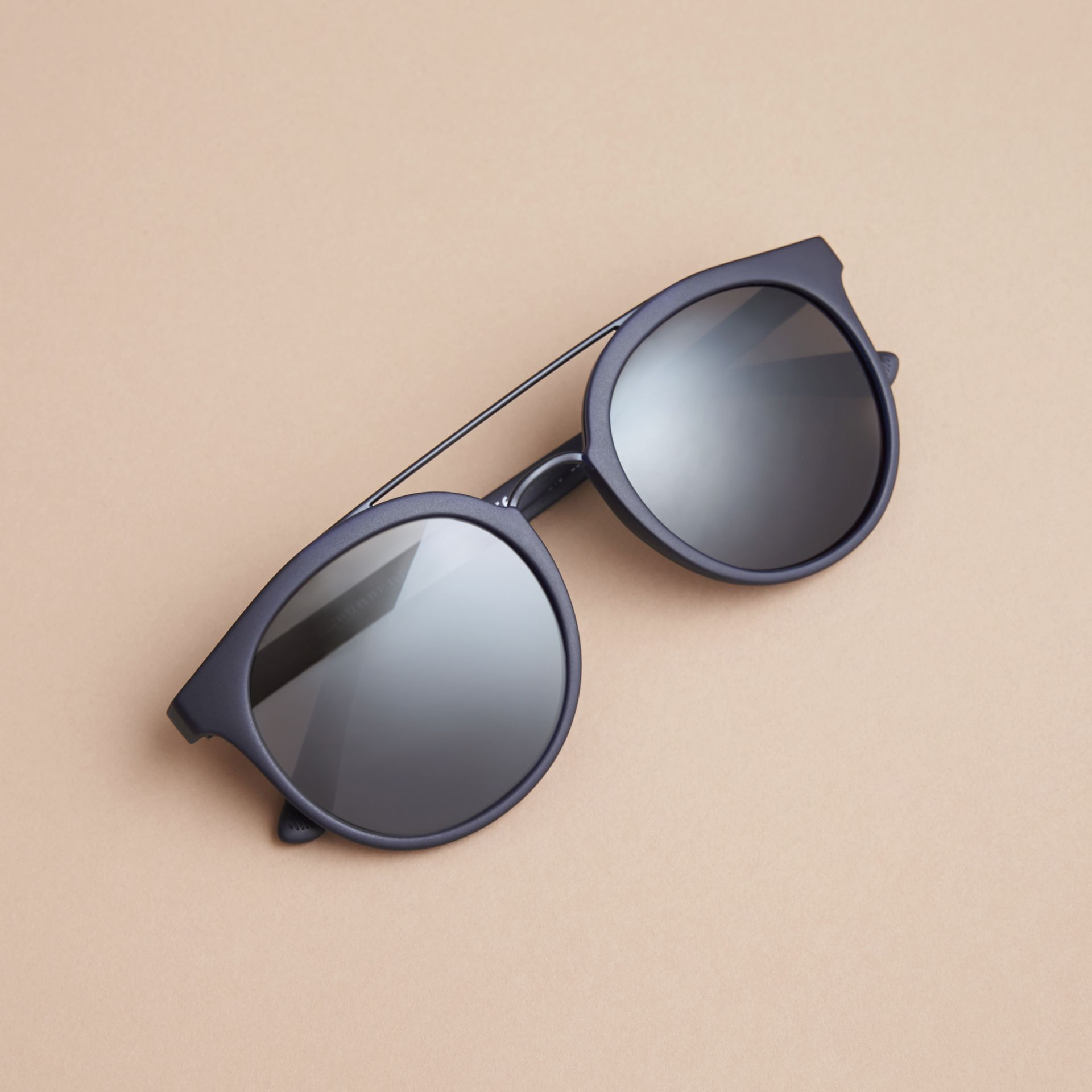 Top Bar Square Frame Sunglasses in Navy | Burberry United Kingdom - gallery image 2