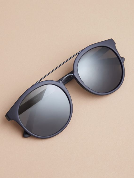 Top Bar Square Frame Sunglasses in Navy | Burberry - cell image 2