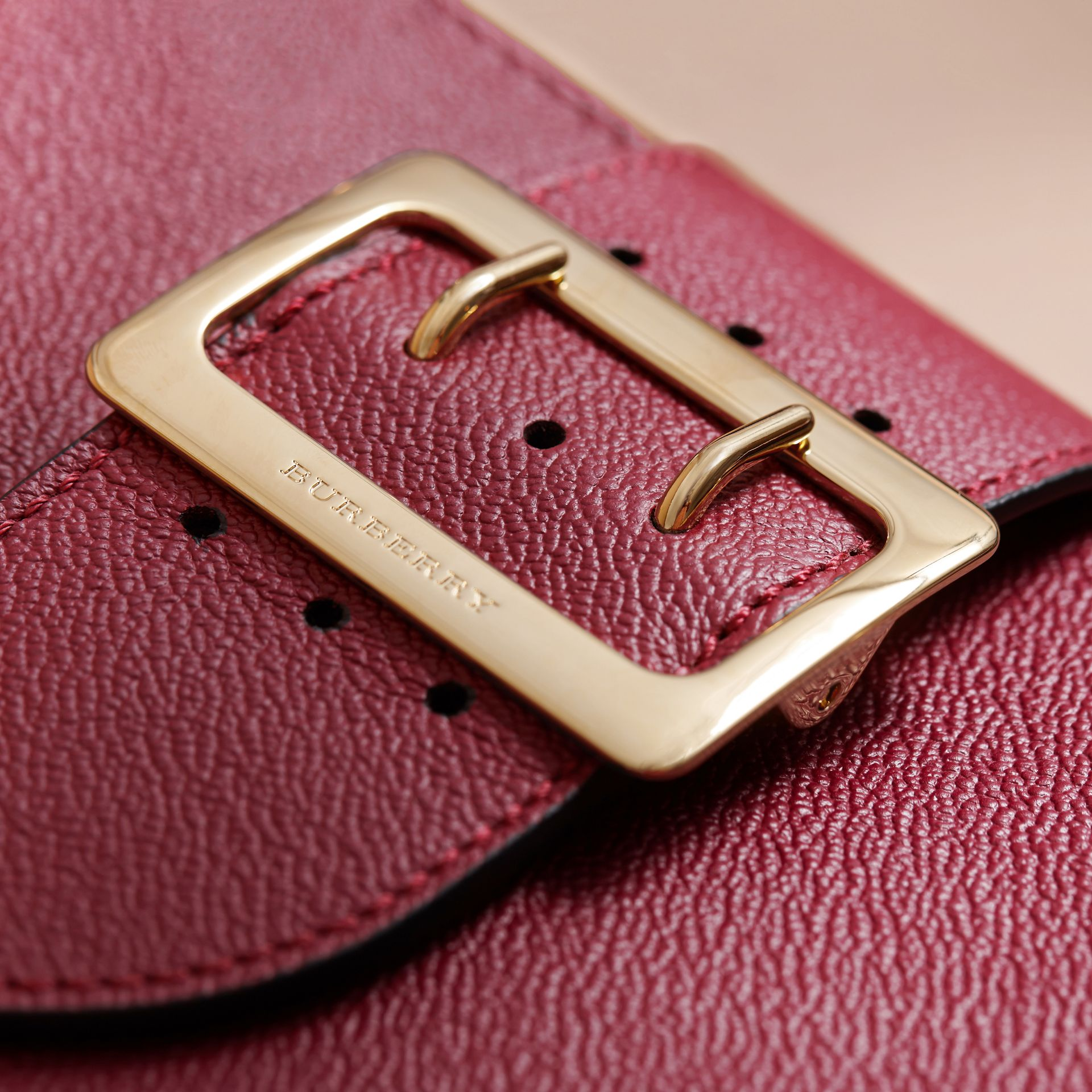The Small Buckle Tote in Grainy Leather Dark Plum - gallery image 2