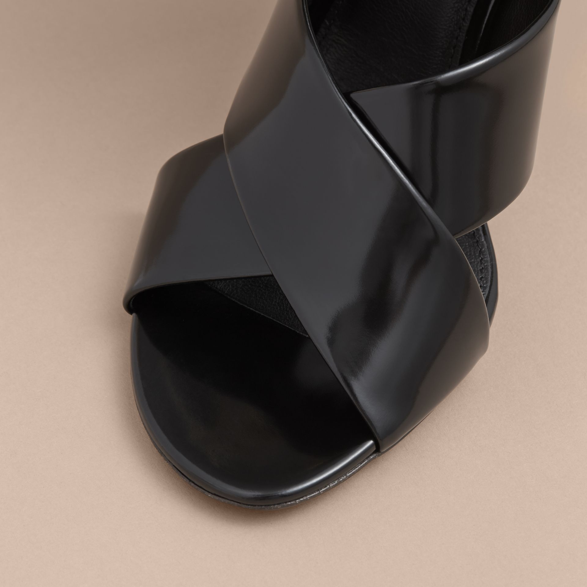 Buckle Detail Patent Leather Sandals in Black - Women | Burberry - gallery image 2