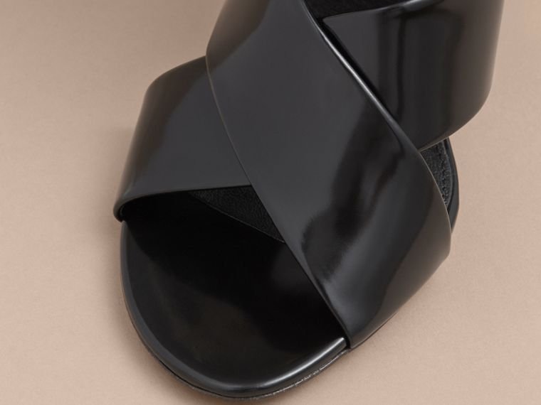 Buckle Detail Patent Leather Sandals in Black - Women | Burberry - cell image 1