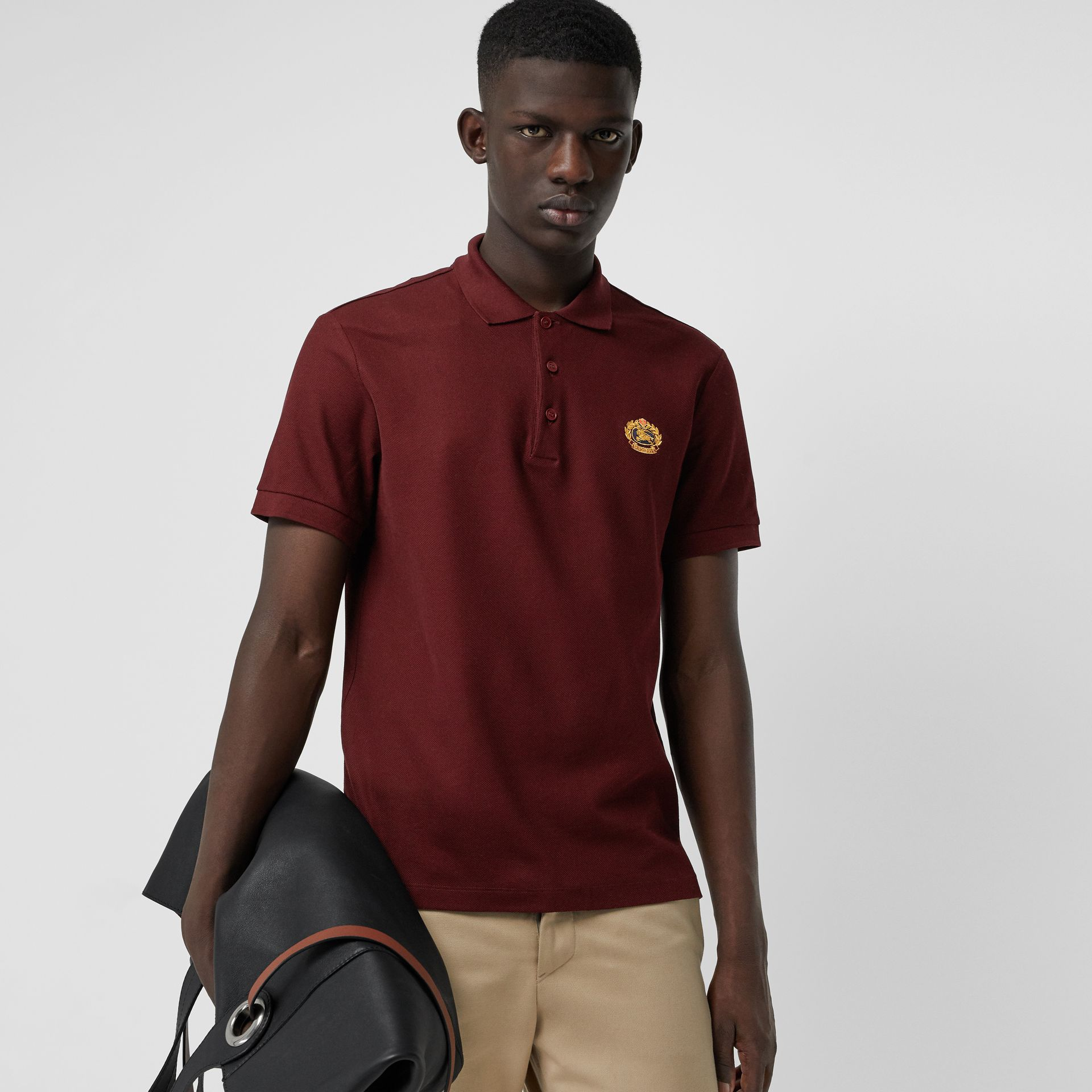 Archive Logo Cotton Piqué Polo Shirt in Burgundy - Men | Burberry Australia - gallery image 4
