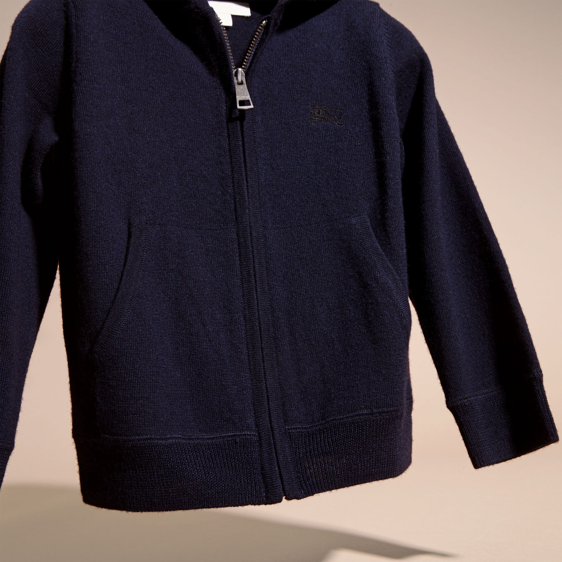 Navy Check Trim Merino Wool Hooded Top Navy - gallery image 3