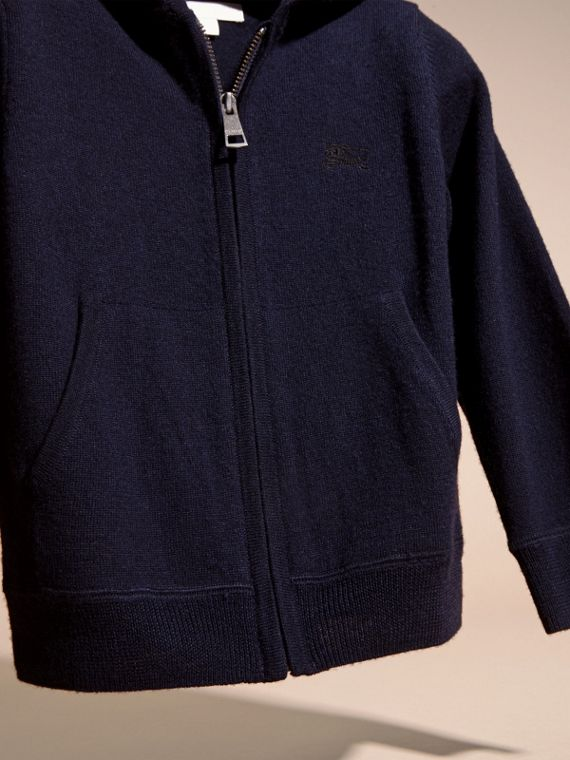 Navy Check Trim Merino Wool Hooded Top Navy - cell image 2