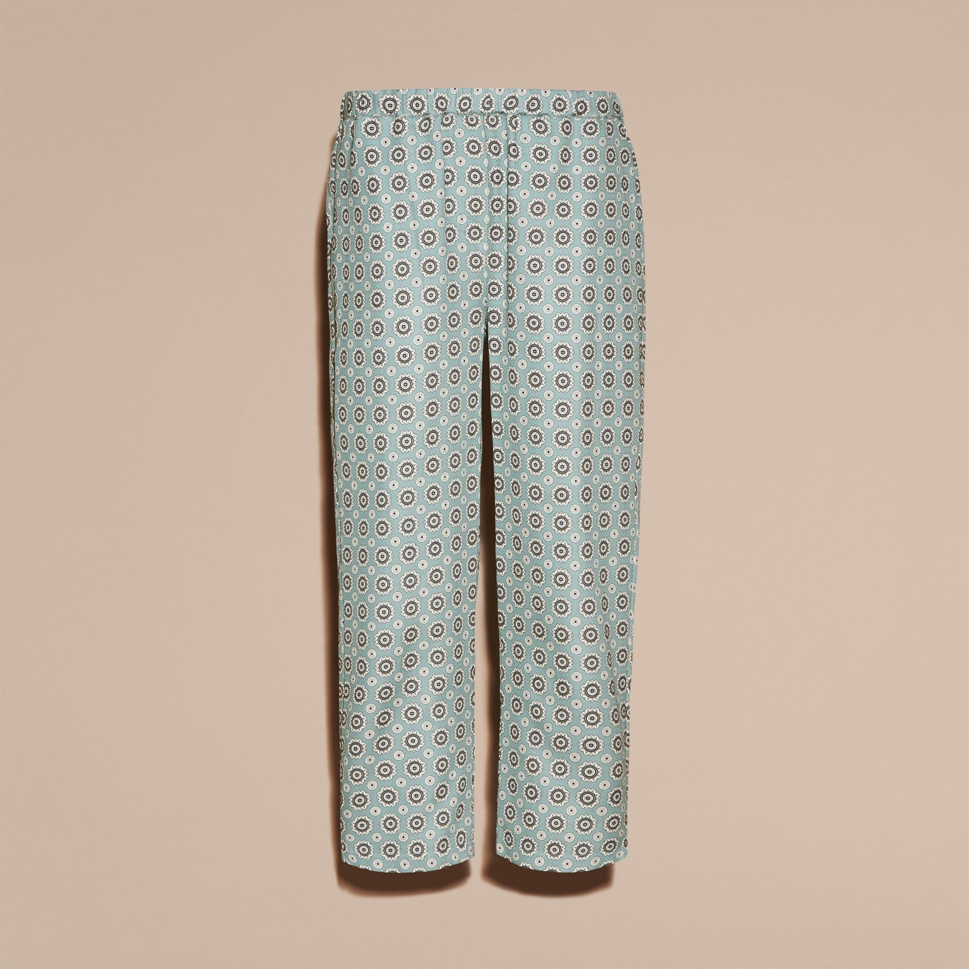 Pyjama Print Cropped Silk Cotton Pyjama-style Trousers in Pale Stone Blue - gallery image 4