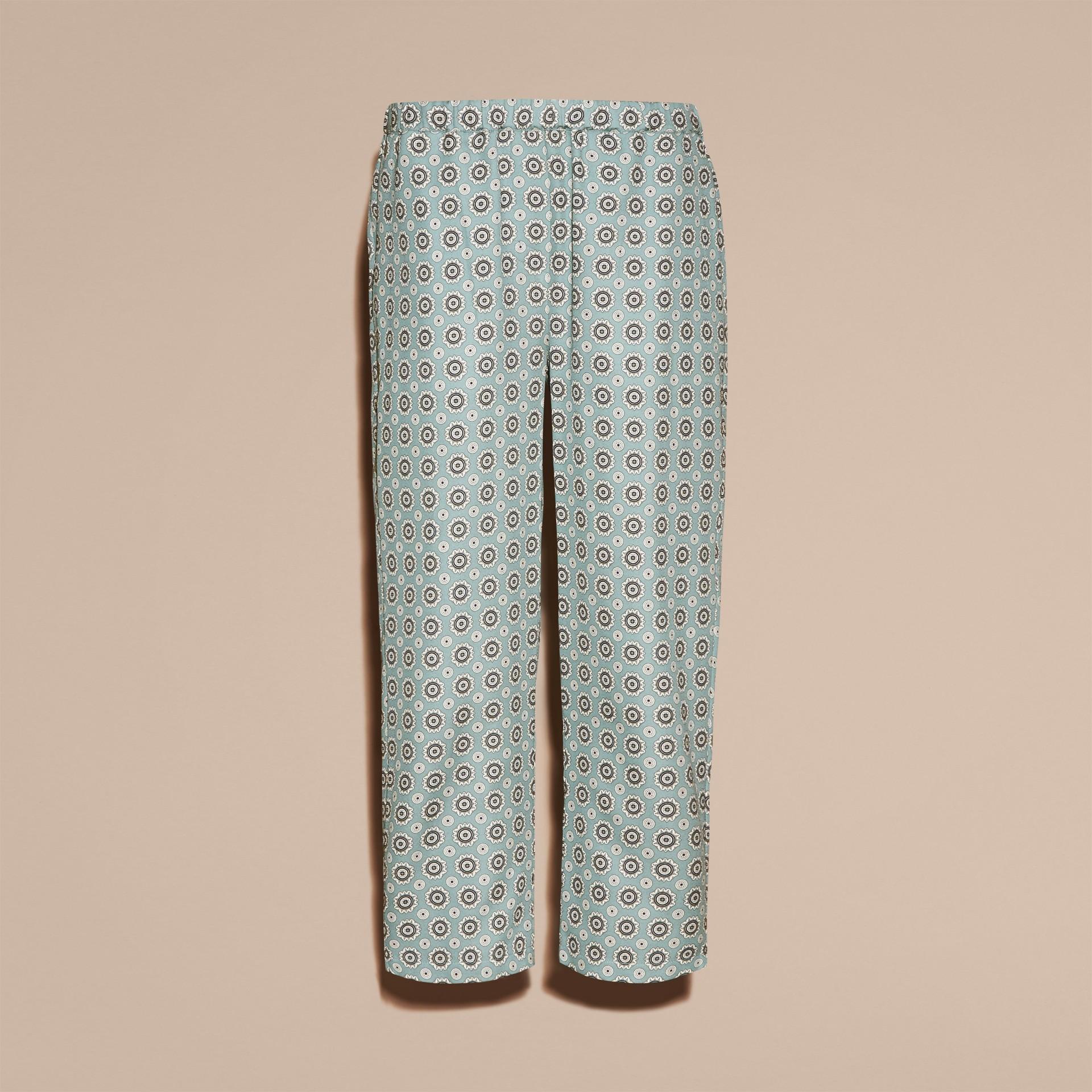 Helles steinblau Hose aus Baumwollseide im Pyjamastil mit kürzerer Beinlänge und Pyjamadruck Helles Steinblau - Galerie-Bild 4