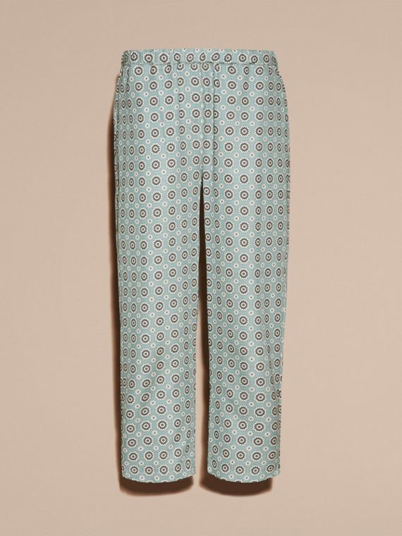 Pyjama Print Cropped Silk Cotton Pyjama-style Trousers in Pale Stone Blue - cell image 3