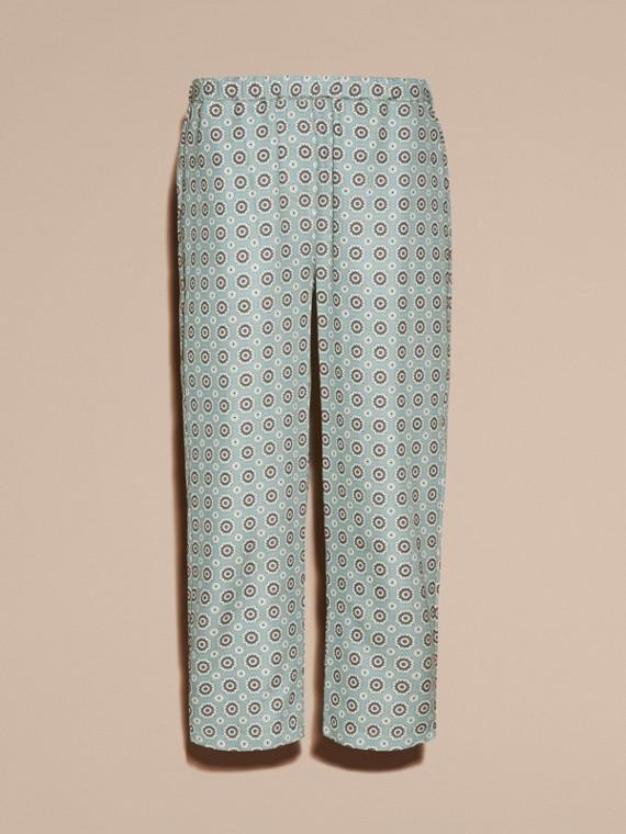 Helles steinblau Hose aus Baumwollseide im Pyjamastil mit kürzerer Beinlänge und Pyjamadruck Helles Steinblau - cell image 3