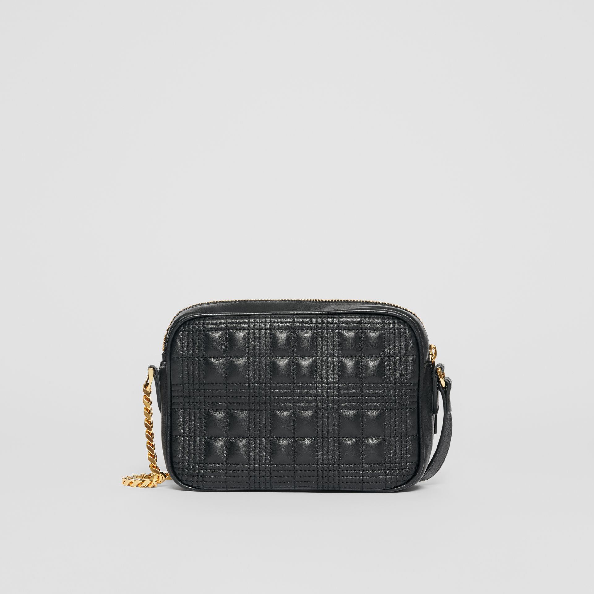 Small Quilted Check Lambskin Camera Bag in Black - Women | Burberry - gallery image 5