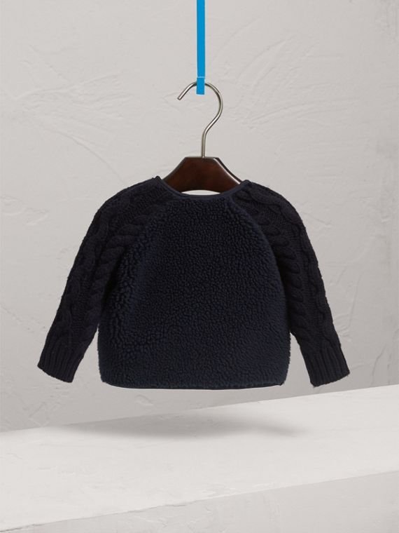 Cable Knit Wool Cashmere and Faux Shearling Jacket in Navy | Burberry - cell image 3