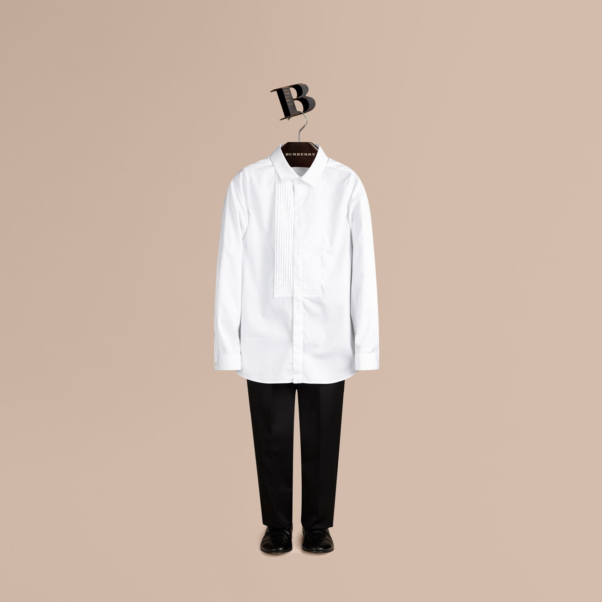 Cotton Dress Shirt in White - Boy | Burberry - gallery image 0