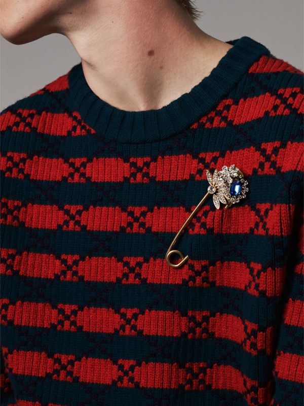 Crystal and Brass Oversized Pin in Blue | Burberry - cell image 3