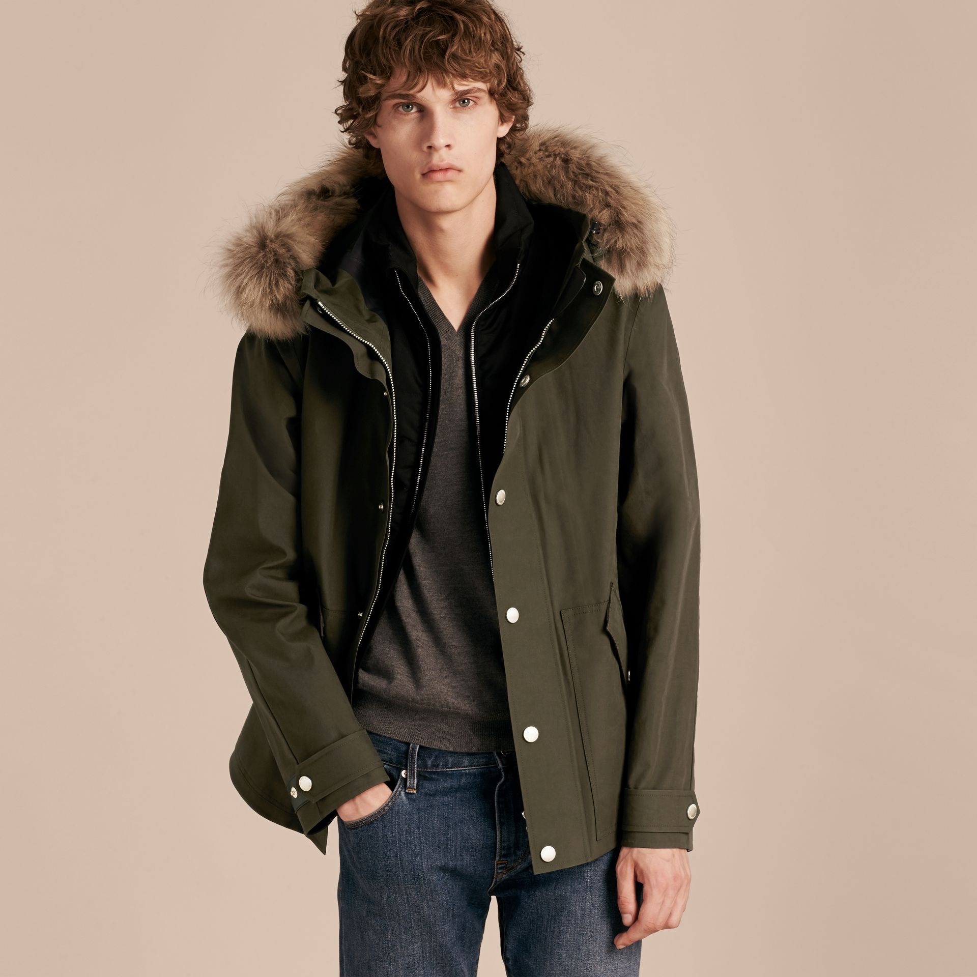 Dark olive Bonded Cotton Parka Coat with Down-filled Warmer - gallery image 6