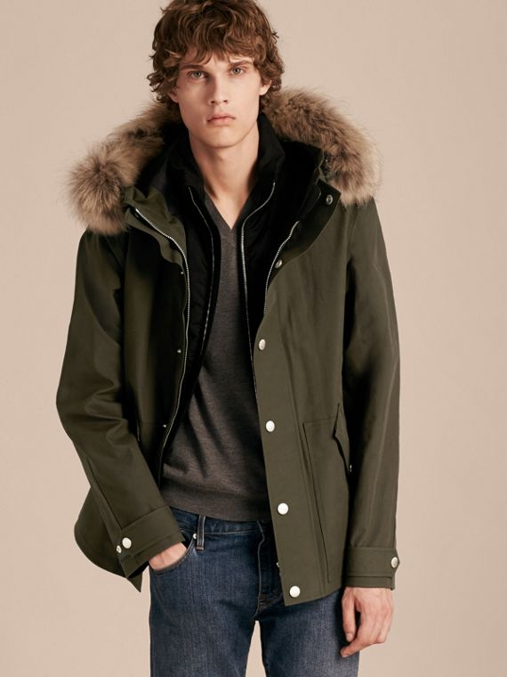 Bonded Cotton Parka Jacket with Down-filled Warmer
